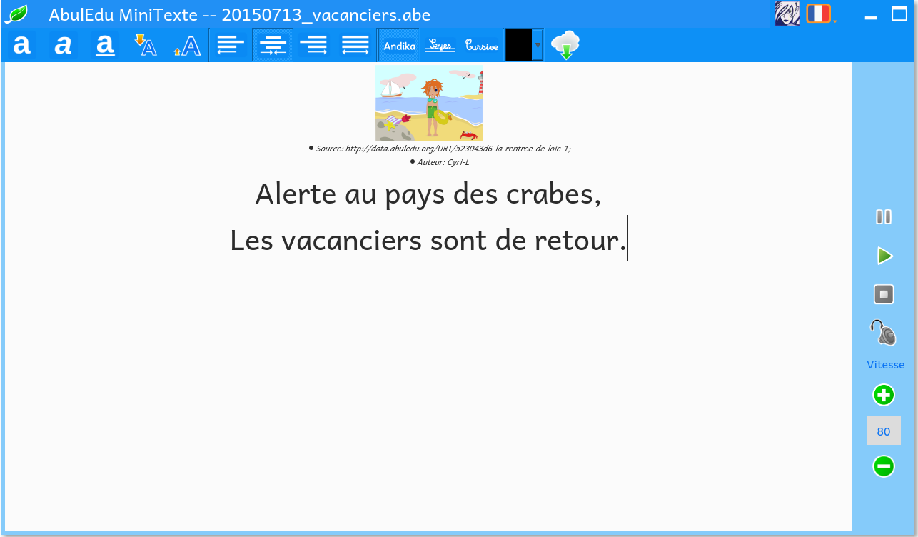 Légender une image avec Mini-texte, vérifier la typographie des pauses avec la synthèse vocale et travailler la mise en page.