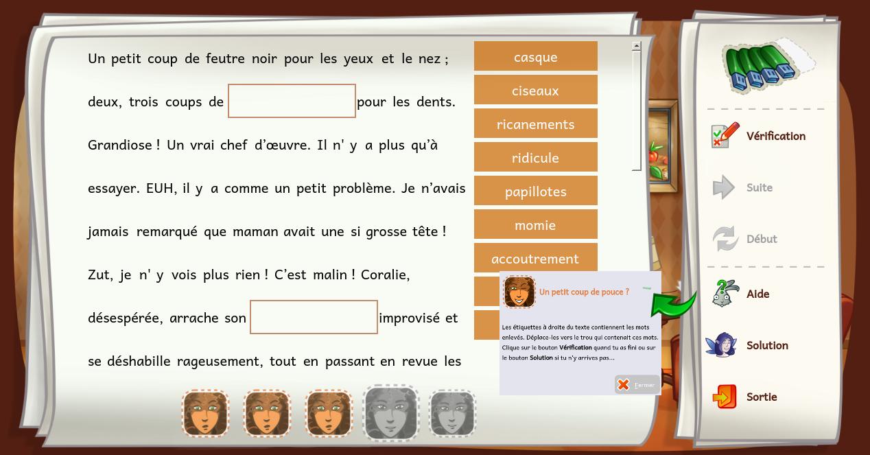 Compléter le texte de Coralie, avec le logiciel ALLER