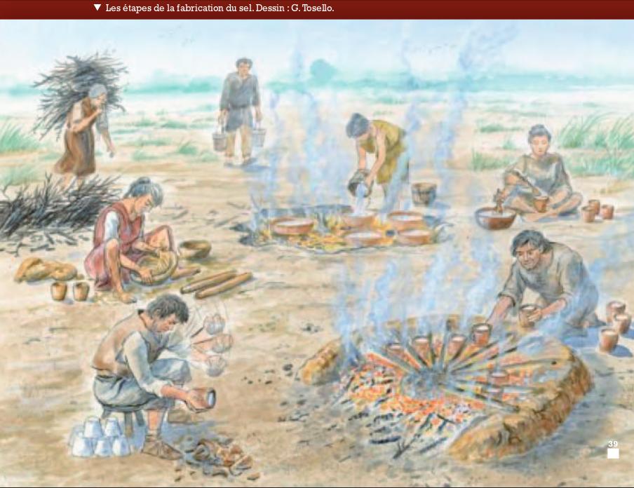 Proposition de restitution : technique de récupération du sel de mer sur le littoral à l'âge du fer, par G. Tosello.